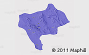 Political 3D Map of Yazd, single color outside