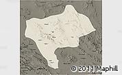 Shaded Relief 3D Map of Yazd, darken