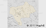 Shaded Relief 3D Map of Yazd, desaturated