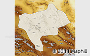 Shaded Relief 3D Map of Yazd, physical outside