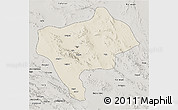 Shaded Relief 3D Map of Yazd, semi-desaturated
