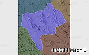 Political Map of Yazd, darken, semi-desaturated