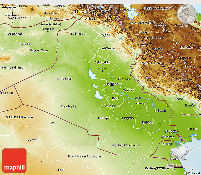 Physical D Map Of Iraq - Iraq map