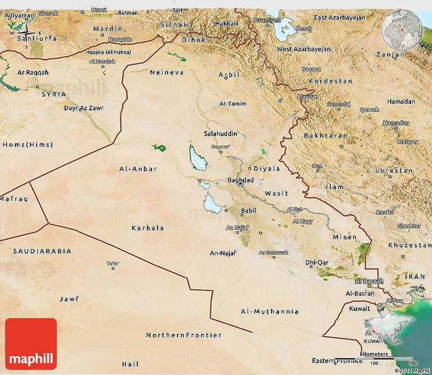 Satellite 3D Map of Iraq