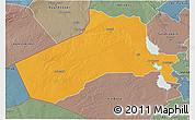 Political 3D Map of Al-Anbar, semi-desaturated