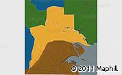 Political 3D Map of Al-Basrah, darken