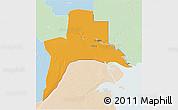 Political 3D Map of Al-Basrah, lighten
