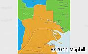 Political 3D Map of Al-Basrah