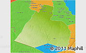 Physical 3D Map of Al-Muthannia, political outside
