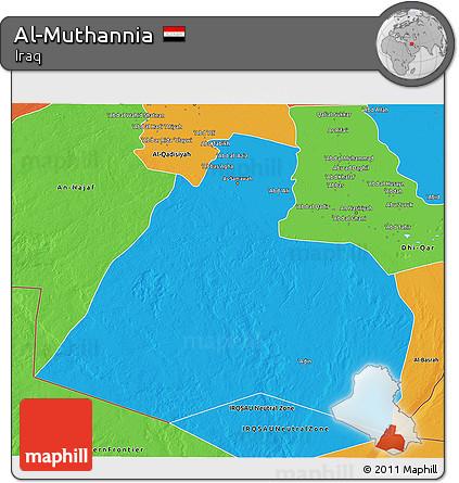 Political 3D Map of Al-Muthannia