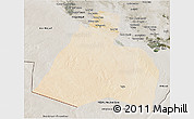 Satellite 3D Map of Al-Muthannia, semi-desaturated