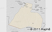 Shaded Relief 3D Map of Al-Muthannia, desaturated