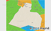 Shaded Relief 3D Map of Al-Muthannia, political outside