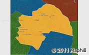 Political 3D Map of Al-Qadisiyah, darken