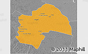 Political 3D Map of Al-Qadisiyah, desaturated