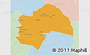 Political 3D Map of Al-Qadisiyah, lighten