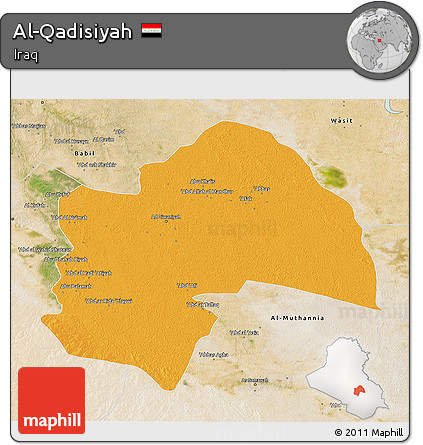Political 3D Map of Al-Qadisiyah, satellite outside