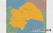 Political 3D Map of Al-Qadisiyah, semi-desaturated