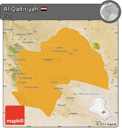 Political Map of Al-Qadisiyah, satellite outside