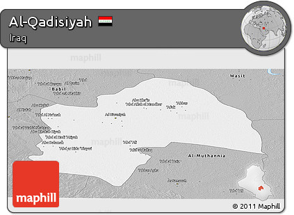 Gray Panoramic Map of Al-Qadisiyah