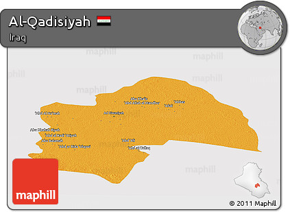 Political Panoramic Map of Al-Qadisiyah, cropped outside