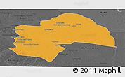 Political Panoramic Map of Al-Qadisiyah, darken, desaturated