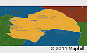 Political Panoramic Map of Al-Qadisiyah, darken