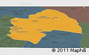Political Panoramic Map of Al-Qadisiyah, darken, semi-desaturated