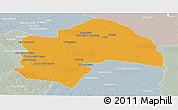 Political Panoramic Map of Al-Qadisiyah, lighten, semi-desaturated