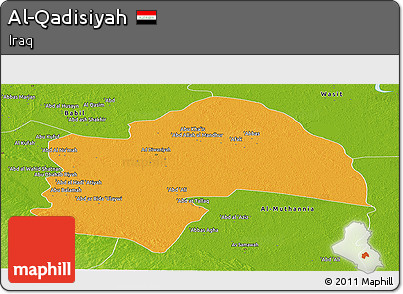 Political Panoramic Map of Al-Qadisiyah, physical outside