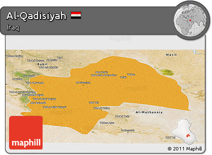 Political Panoramic Map of Al-Qadisiyah, satellite outside