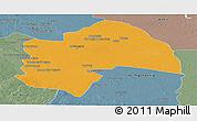 Political Panoramic Map of Al-Qadisiyah, semi-desaturated