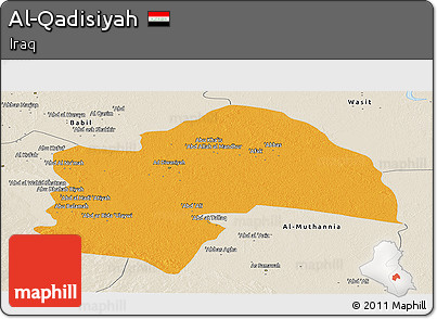 Political Panoramic Map of Al-Qadisiyah, shaded relief outside