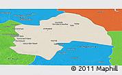 Shaded Relief Panoramic Map of Al-Qadisiyah, political outside