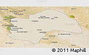 Shaded Relief Panoramic Map of Al-Qadisiyah, satellite outside