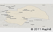 Shaded Relief Panoramic Map of Al-Qadisiyah, semi-desaturated