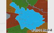 Political 3D Map of Babil, darken