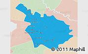 Political 3D Map of Babil, lighten