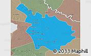 Political 3D Map of Babil, semi-desaturated