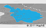 Political Panoramic Map of Babil, desaturated