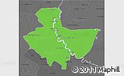 Political 3D Map of Baghdad, darken, desaturated