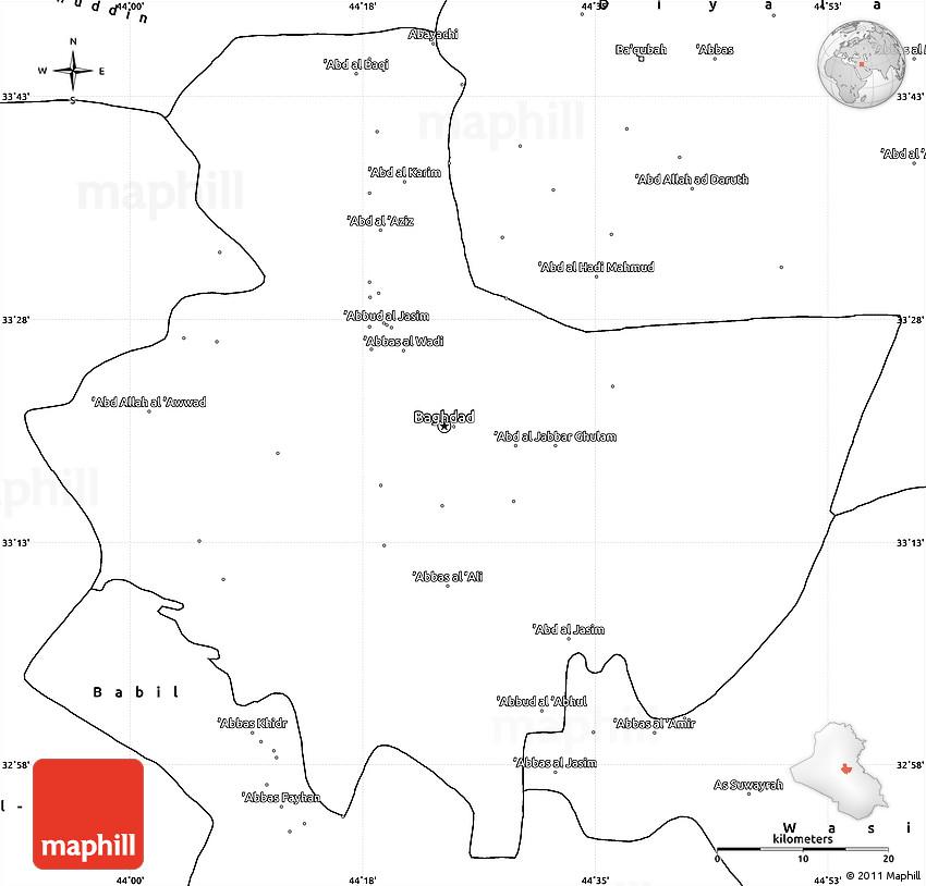 blank simple map of baghdad
