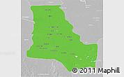 Political 3D Map of Dhi-Qar, lighten, desaturated