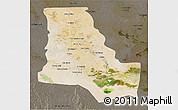 Satellite 3D Map of Dhi-Qar, darken