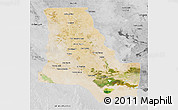 Satellite 3D Map of Dhi-Qar, desaturated