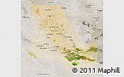 Satellite 3D Map of Dhi-Qar, semi-desaturated