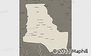 Shaded Relief Map of Dhi-Qar, darken