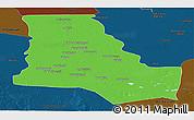 Political Panoramic Map of Dhi-Qar, darken