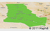 Political Panoramic Map of Dhi-Qar, satellite outside
