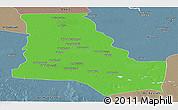 Political Panoramic Map of Dhi-Qar, semi-desaturated